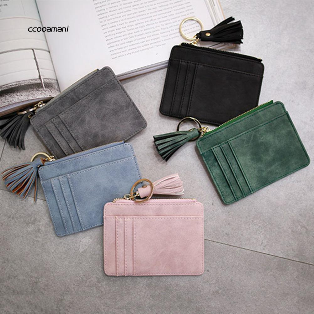 67d62e9dead5 COMI_Faux Leather Mini Tassel Pendant Women Card Holder Coin Purse Keychain  Wallet