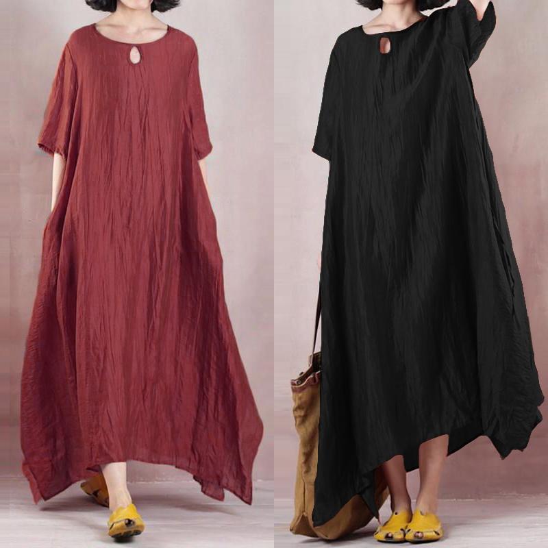 ZANZEA Women Oversized Vintage Round Neck Long Plain Maxi Dress