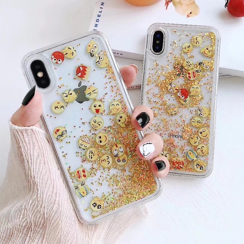iphoneXR phone case Funny smiley face demon mobile icon glitter pink sand