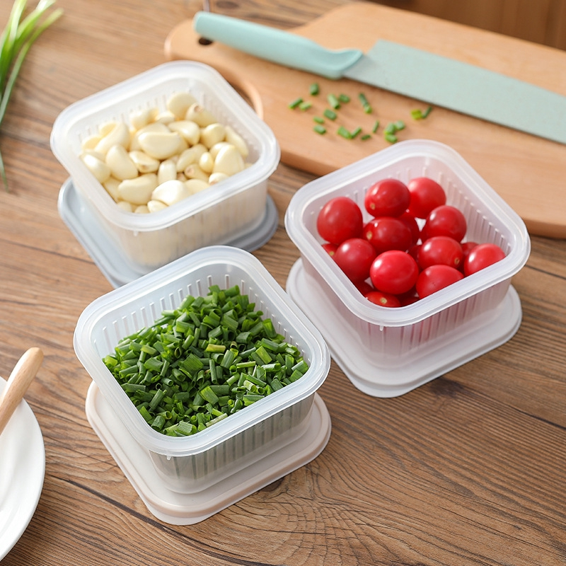 Square Drain Sealed Box Ginger Garlic Onion Food Container