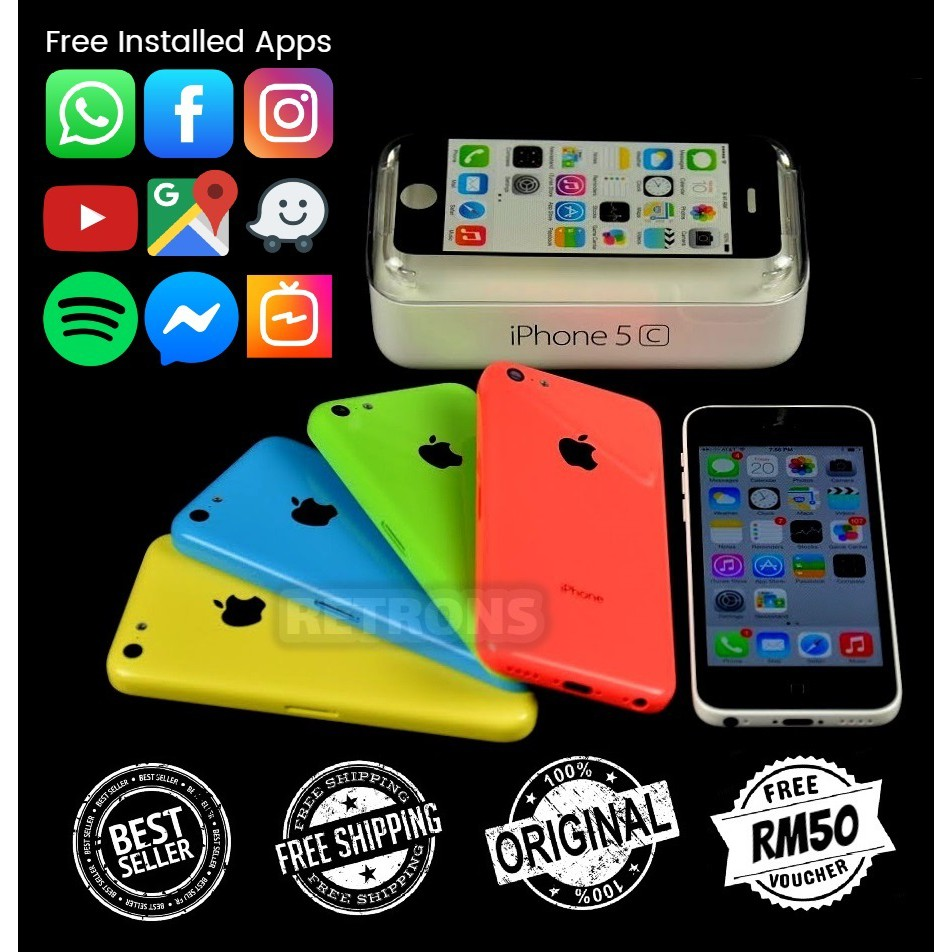 🇲🇾 Original Apple iPhone 5C 16GB 32GB 90% Like New Used Phone With 1 Month Warranty