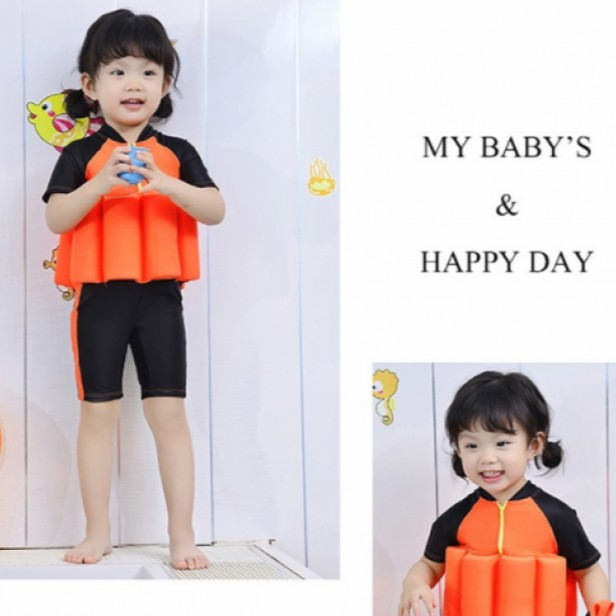 KIDS PLAIN SWIMMING SUIT WITH REMOVABLE FLOAT AND CAP (BLACK ORANGE) FOR UNISEX