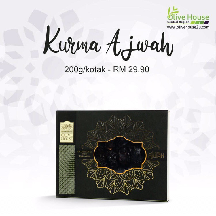 [ HOT SELLING ]Kurma Ajwah , AJWAH DATES Gred A by OLIVE HOUSE (200g) with FREE Shipping