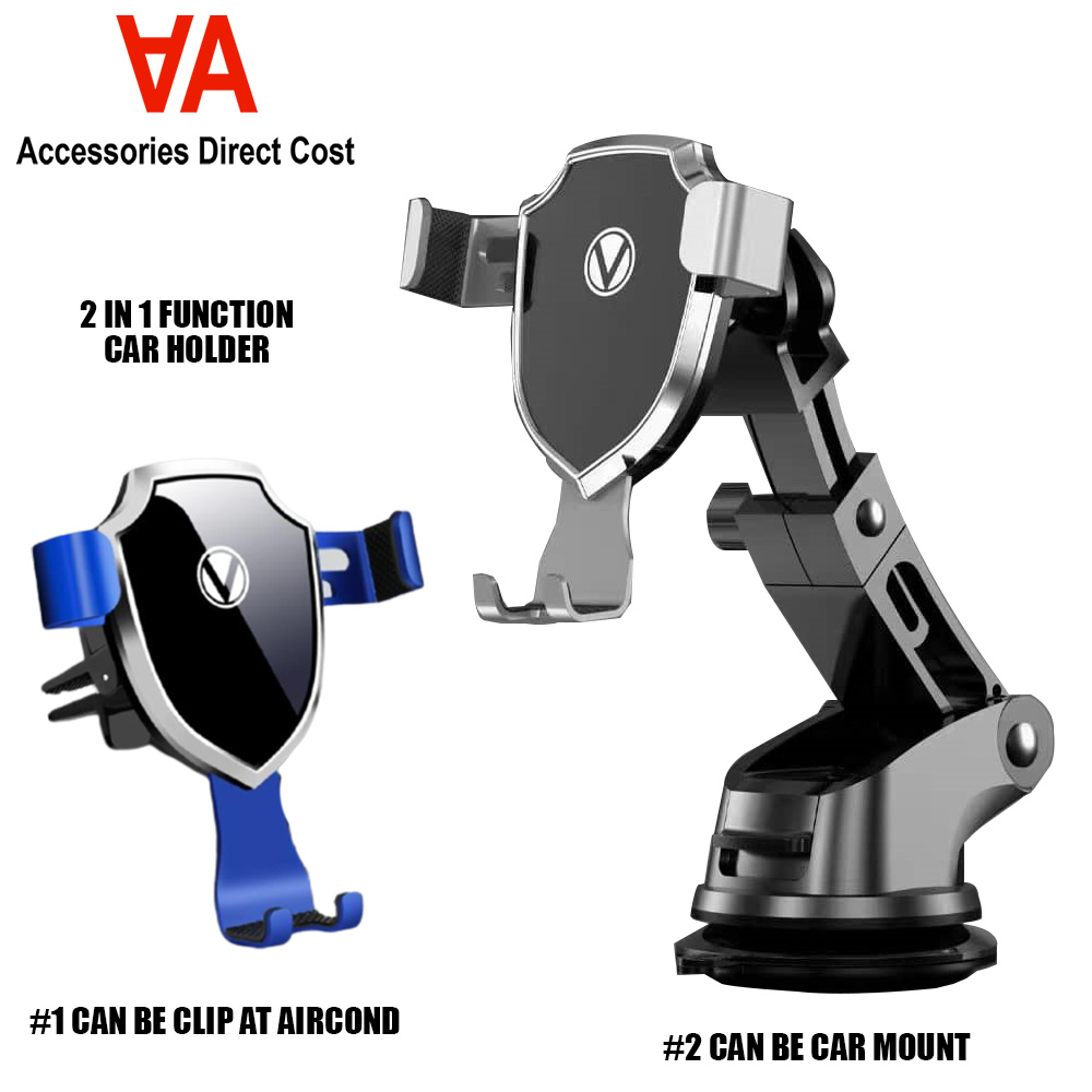 2 in 1 Car Windshield Dashboard Phone Holder Mount Long Neck One-Touch Car Mount Mobile Phone Holder 360° Rotating