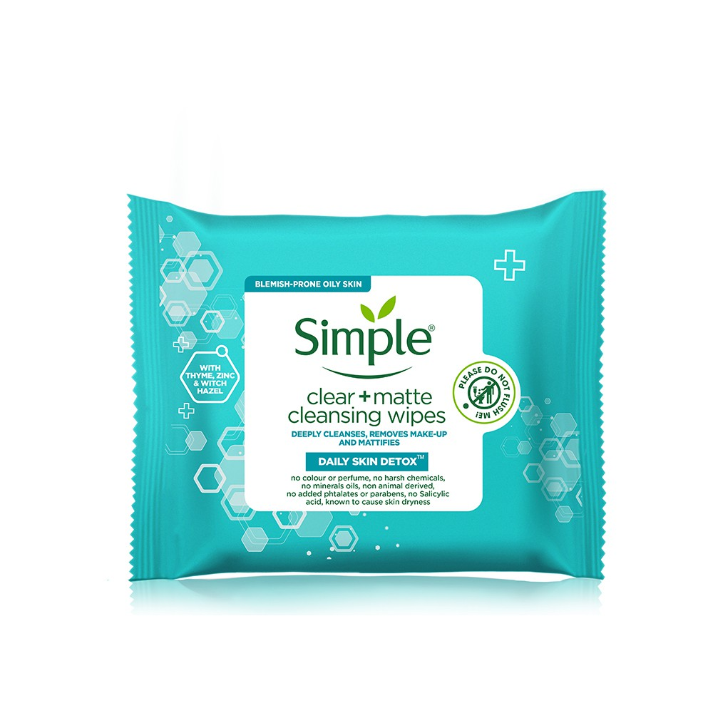Simple Daily Skin Detox Clear Matte Cleansing Wipes (25's)