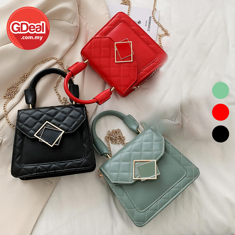 GDeal Fashion Woman Sling Bag Lock Chain Style Shoulder Bag Diagonal Cross Chain Bag With Golden Strap Bag Perempuan