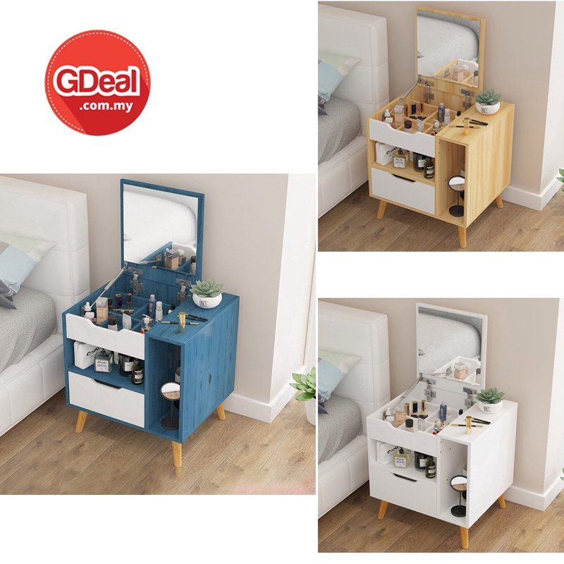 GDeal Multi-Function Solid Wood Dressing Table With Mirror Mini Makeup Cabinet ميجا سوليق