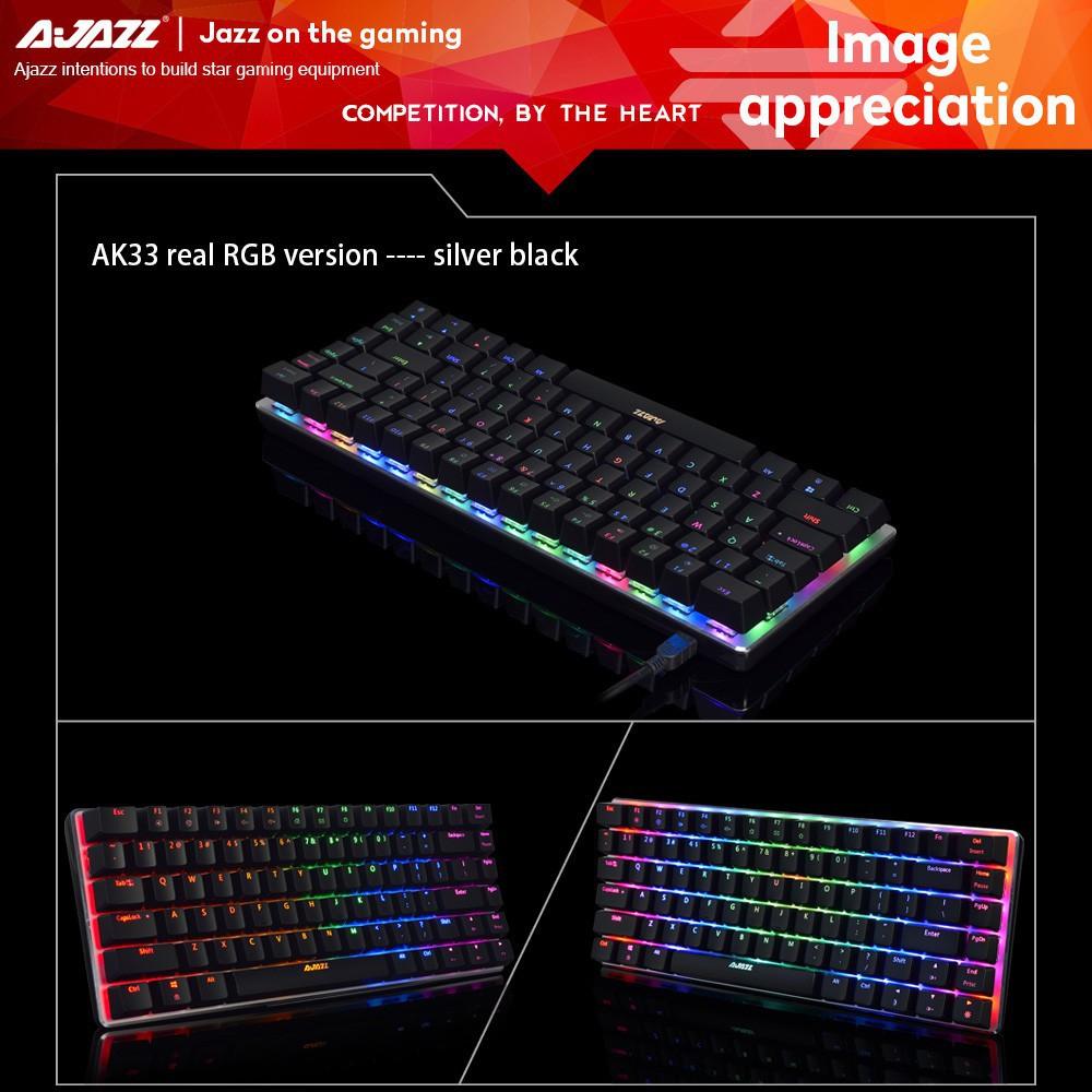 Ajazz AK33 Gaming Mechanical Keyboard Compact RGB White LED Black Blue Switch | Shopee Malaysia