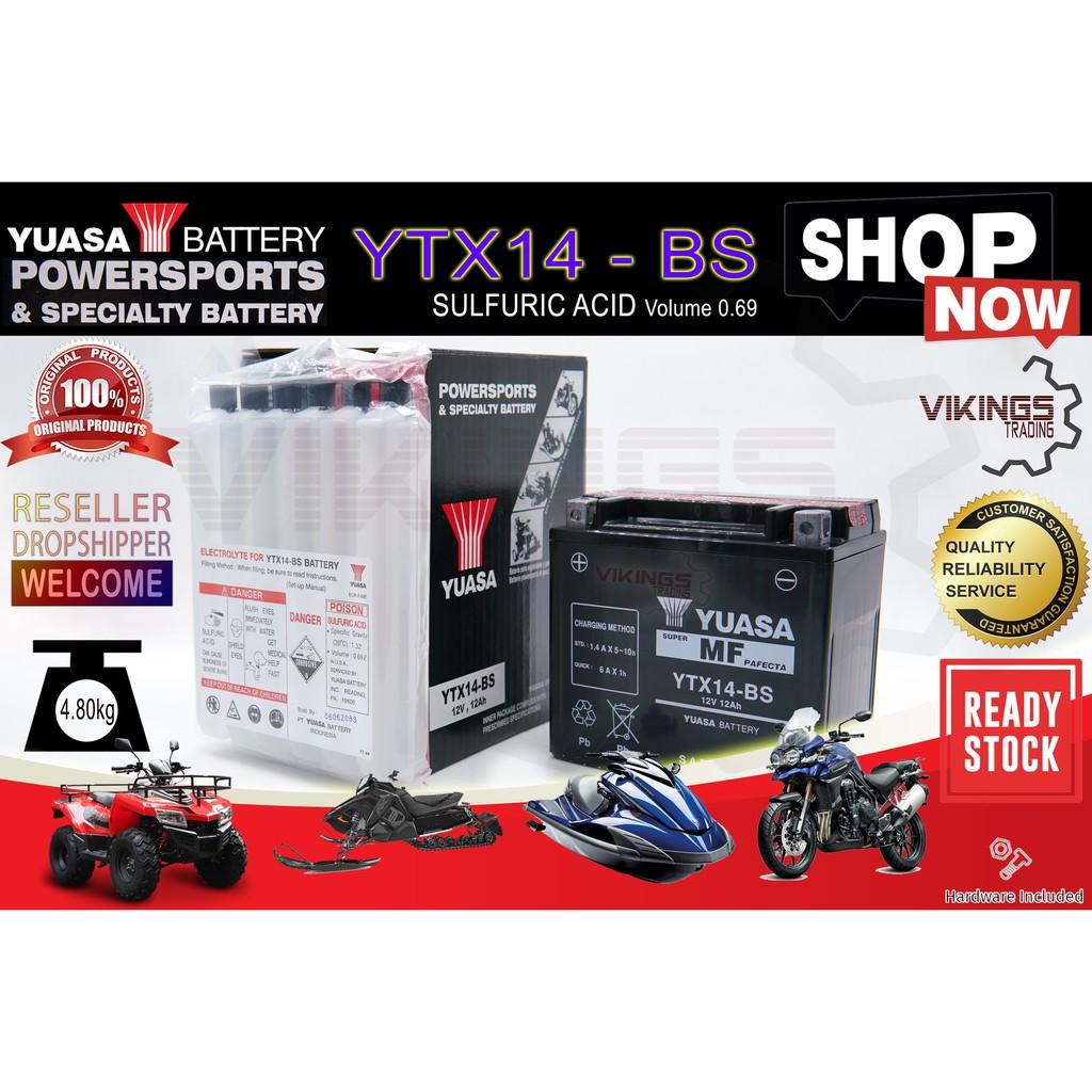 [READY STOCK KL] YTX14 YTX14-BS ORIGINAL YUASA BATTERY