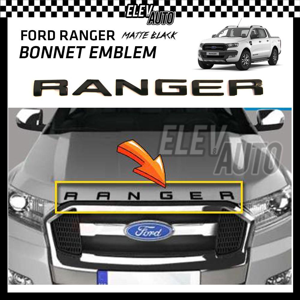 Ford Ranger Matte Black 3D Logo Bonnet Emblem