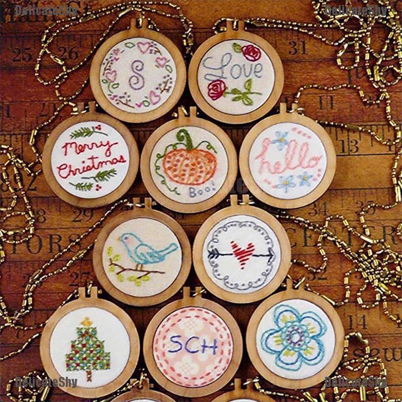 10pcs Mini Round Wooden Embroidery Frame Hoop for Beginner Handicraft Lover