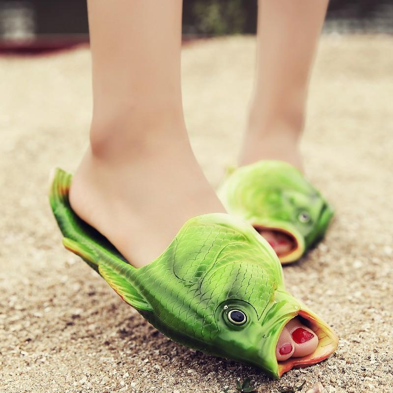 Summer Womens Mens Beach Flat Shoes Unisex Fish Funny Slippers Flip Flops