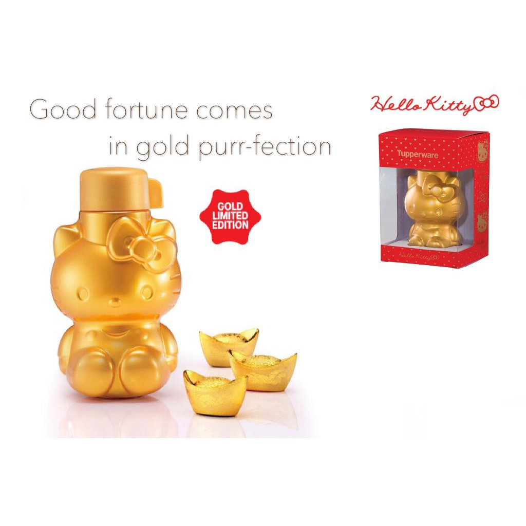 4be634384 (Ready Stock) Tupperware Gold Prosperity Hello Kitty Bottle 425ml   Shopee  Malaysia