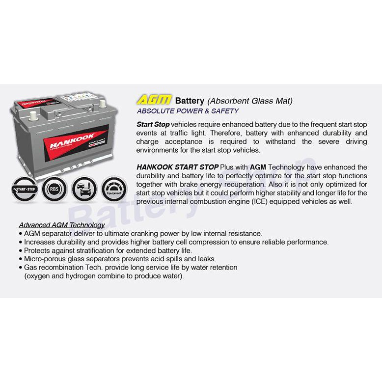 DIN80AGM Start Stop Car Battery for Mercedes Benz W204, W205, W212