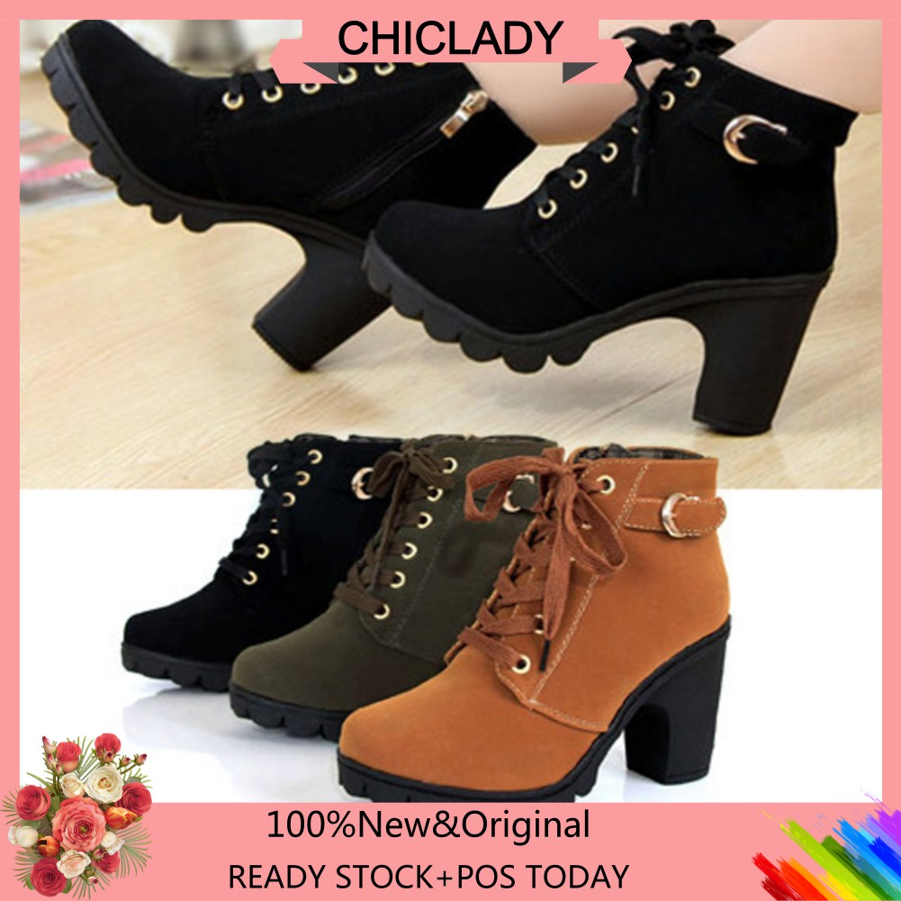 🌹OMB🌹Women High Top Heel Lace Up Winter Pumps Suede Shoes | Shopee Malaysia