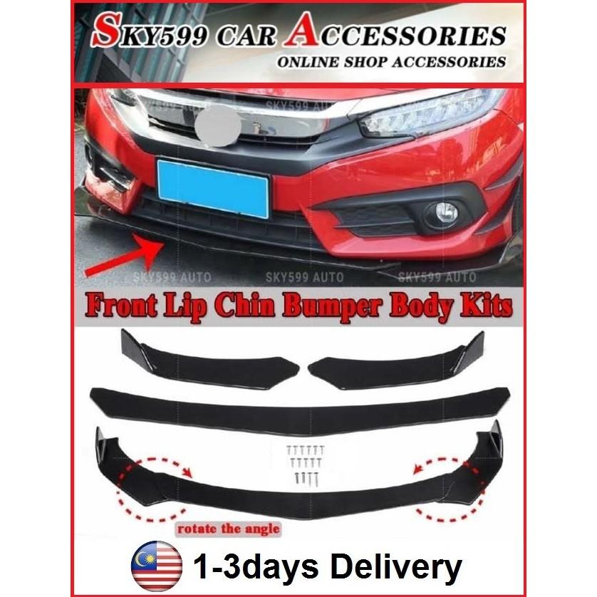 Car Universal Front Bumper Diffuser Lip Wrap Angle Splitters Black More Car Model Can Install