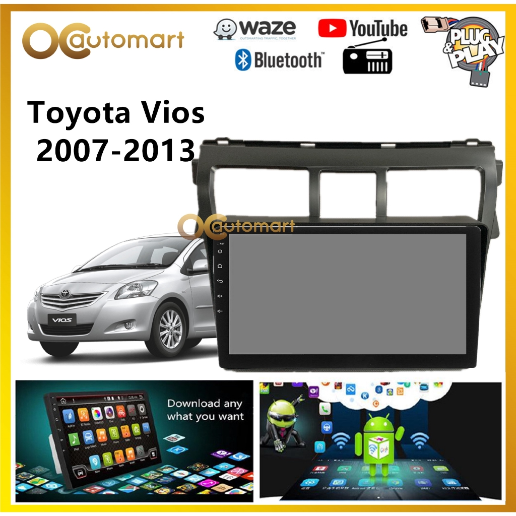 """Toyota Vios 2007-2013 Big Screen 9"""" Black Colour Plug and Play OEM Android Player Car Stereo With WIFI Video Player"""
