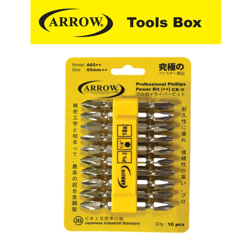 ARROW A45++   SCREWDRIVER BITS (10 PCS/CARD)A45  EASY USE SAFETY GOOD QUALITY