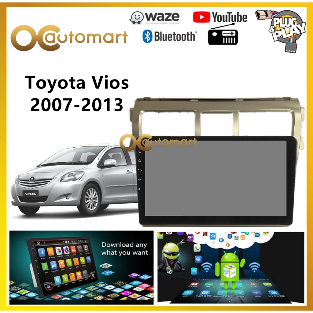 """Toyota Vios 2007-2013 Big Screen 9"""" Silver Colour Plug and Play OEM Android Player Car Stereo With WIFI Video Player"""