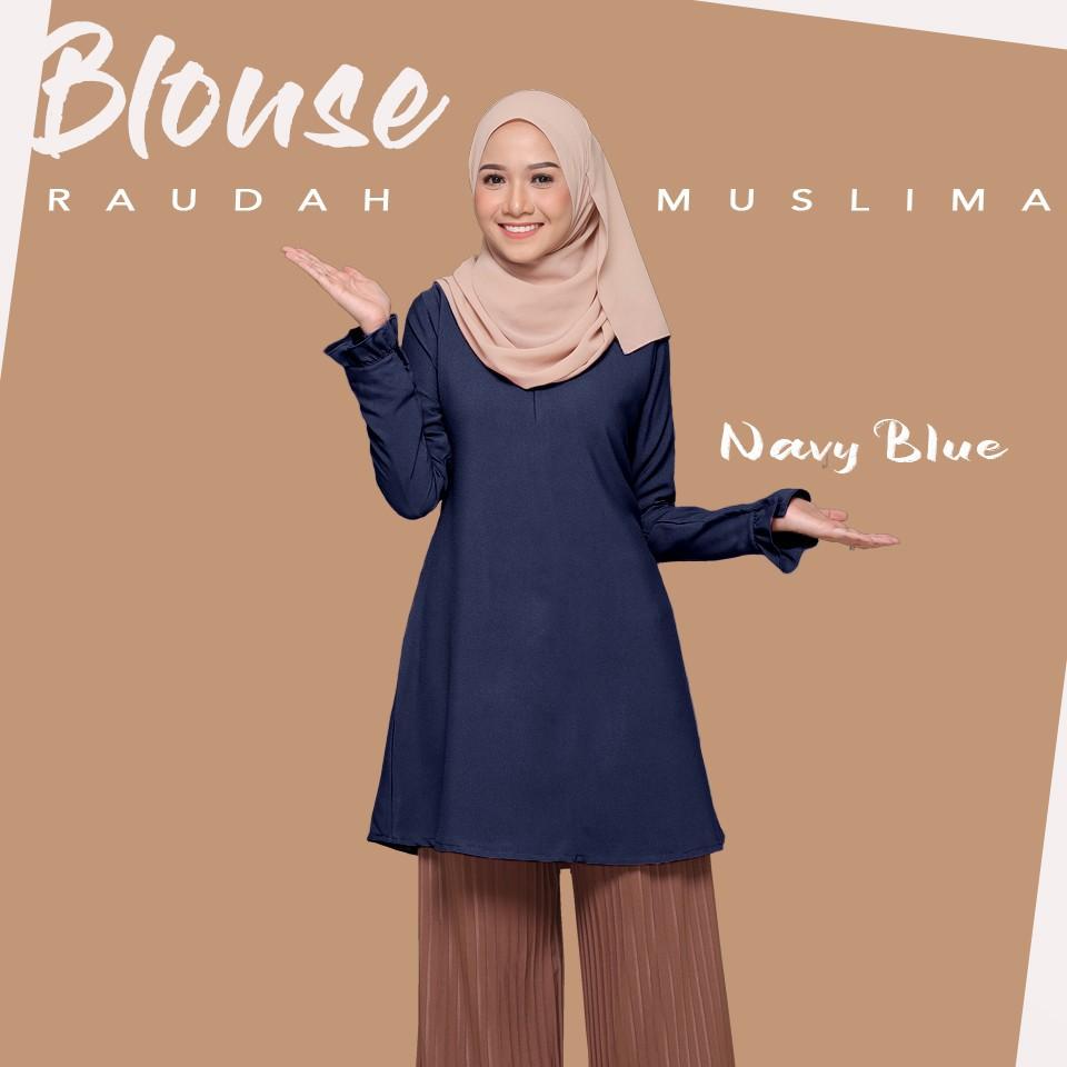 PLAIN RAUDA  MUSLIMAH BLOUSE LONG TOP (Readystock ) Stretchable Plain