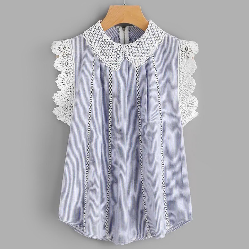 16b917f65d006 Women's Summer Long Slim Sleeveless Lace Trim Embroidered Tops