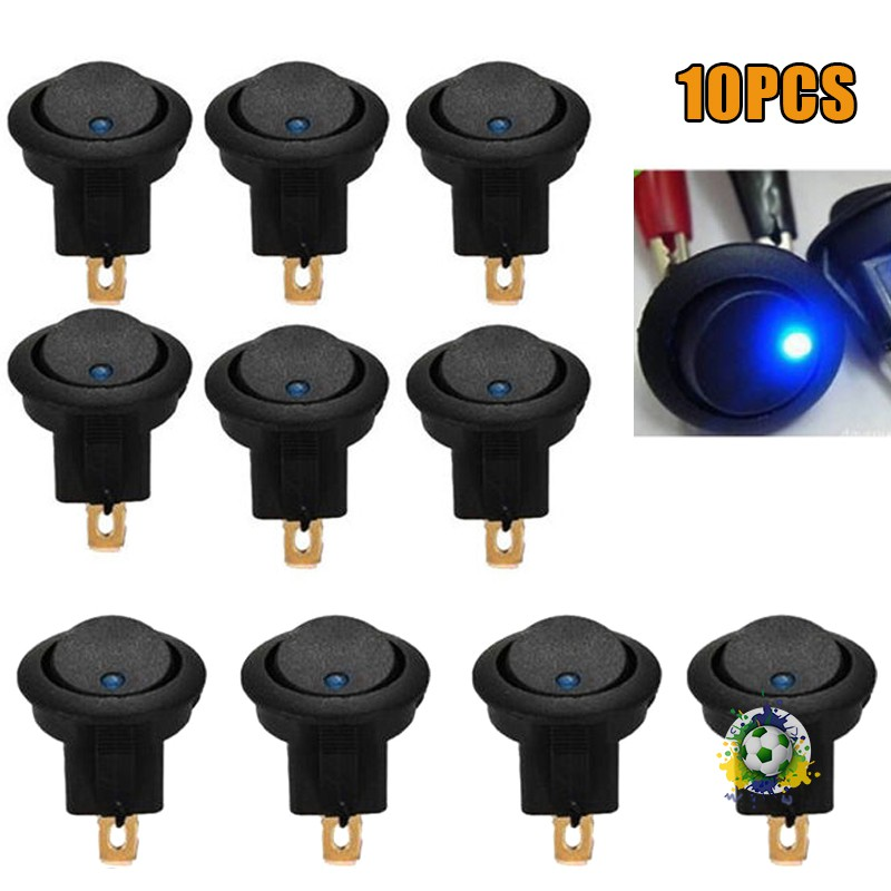 20 X 12V Car Round Dot Blue LED Light Rocker Indicator Toggle Switch Sales