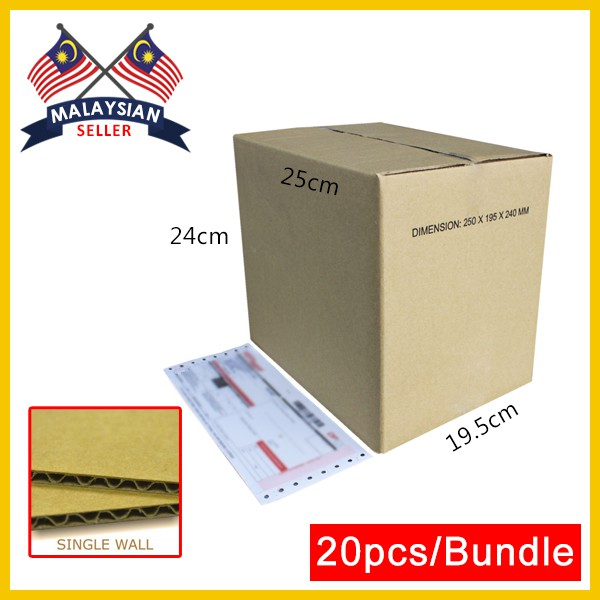 (250mm x 195mm x 240mm, Set of 20) Small Single Wall Carton Box for Packing