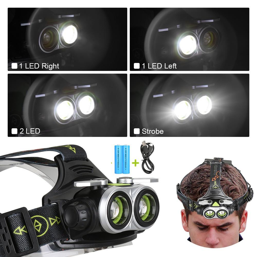 80000LM 5x White LED Head Headlamp Headlight Torch Lamp+USB Line+2xBattery