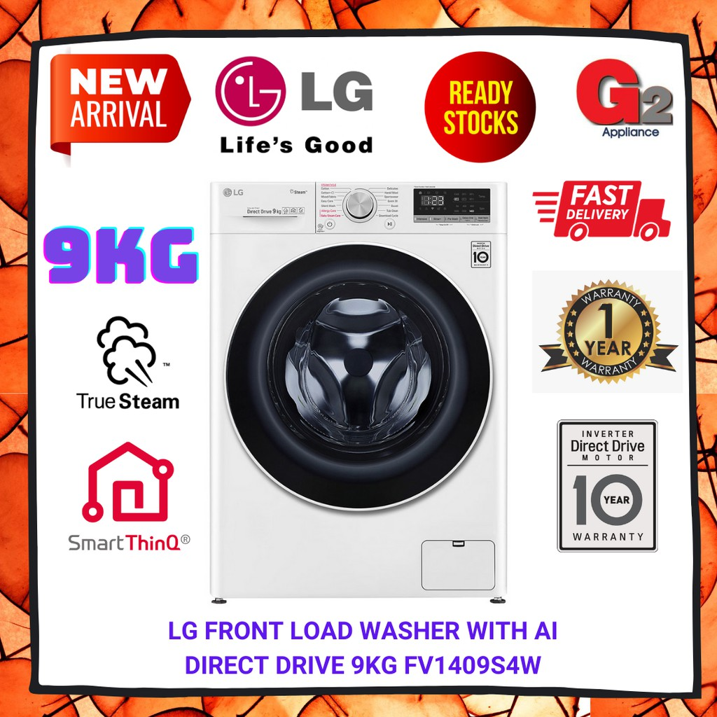 LG (New 2020) Front Load Washer with AI Direct Drive 9KG FV1409S4W - LG Warranty Malaysia