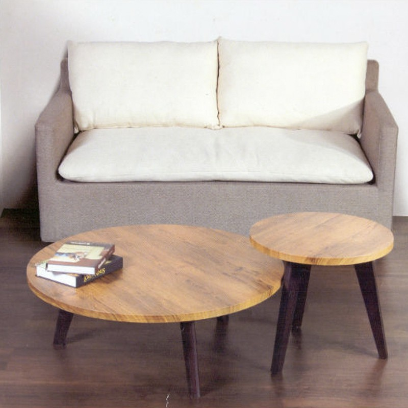 Furniture Direct CAIRO COFFEE TABLE WITH SIDE TABLE-TEAK GRAIN