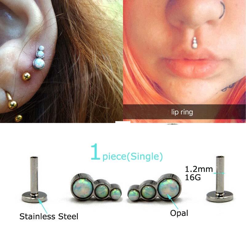 Helix Tragus Cheek 2PC Stainless Steel Ball Labret Lip Piercing Stud Monroe