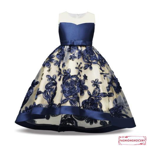 ccc27a7db9174 8OI-Formal Girls Dress Princess Kids Baby Girls Flower Embroidery ...