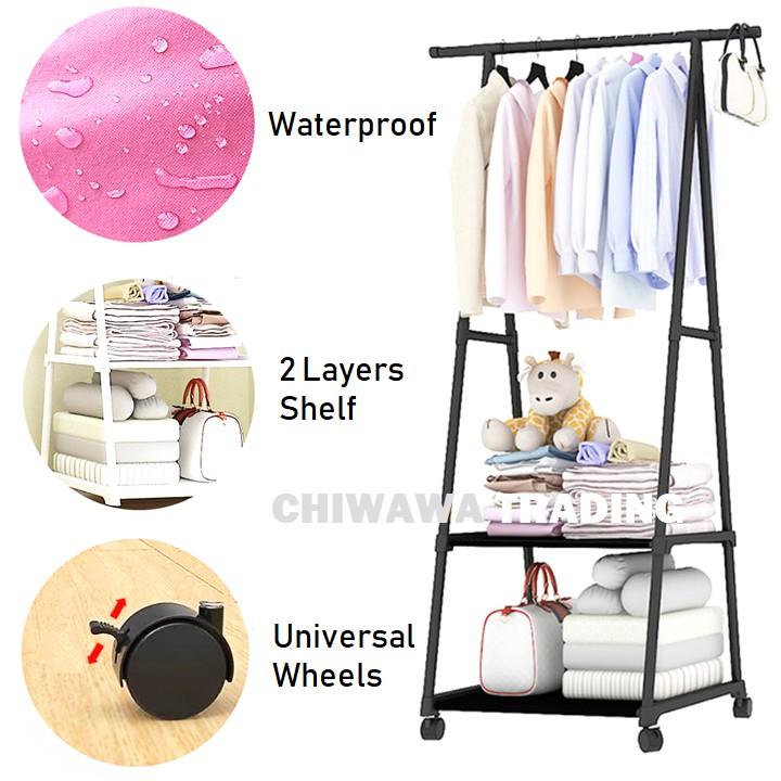 3 Tier Clothes Hanging Rack Cloth Shoe Wardrobe Closet Storage Organizer Drying Shelf Wheels Rak Penyidai Baju