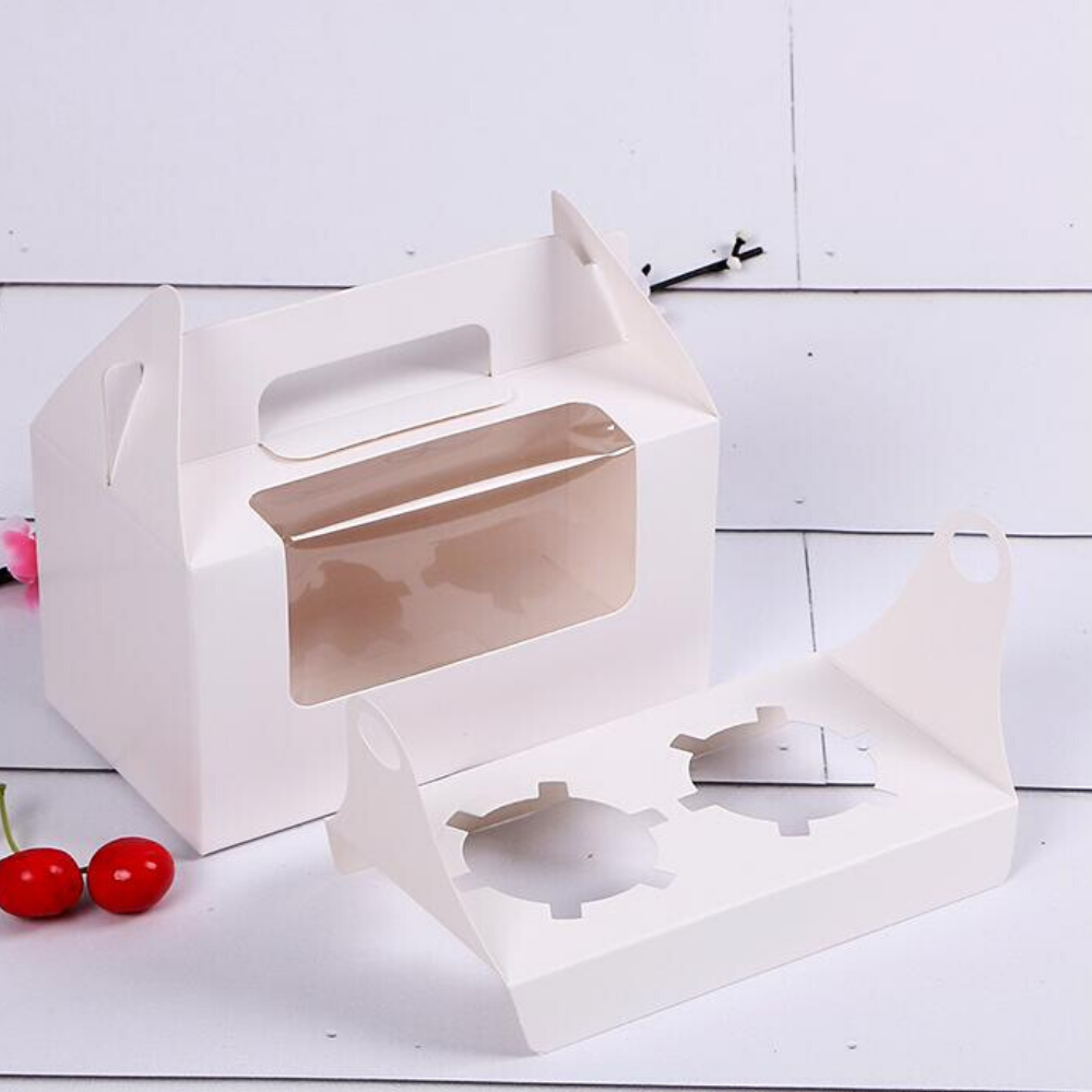 Cupcake Box With Window, Insert & Handle, For Two Cupcakes, 10 sets