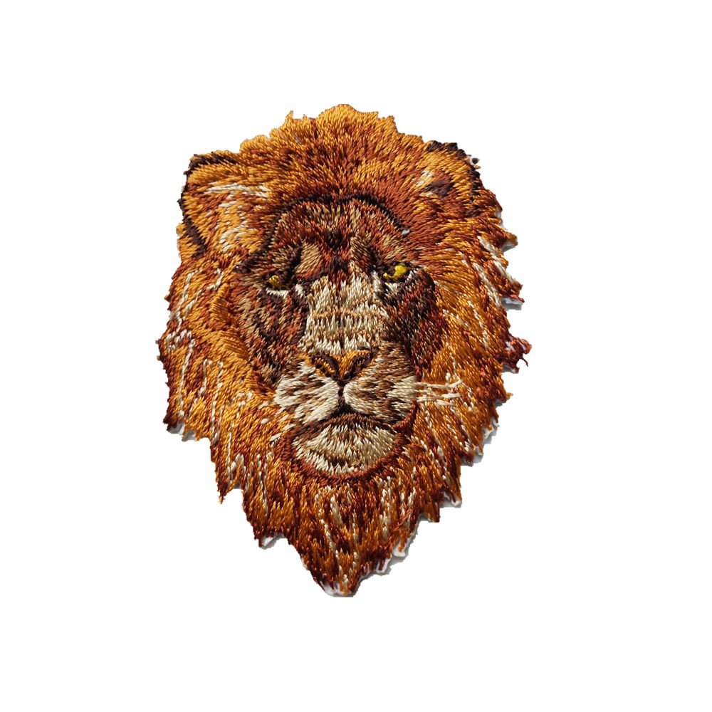 Iron On Lion Patch Sew On Embroidered Badge for Cloth Jacket Jeans Bag Crafts