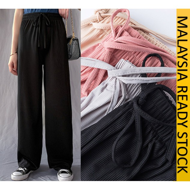 READY STOCK] CASUAL SELUAR PANJANG LABUH WANITA KAIN RINGAN / CASUAL SUMMER ICE SILK COOLING PANTS