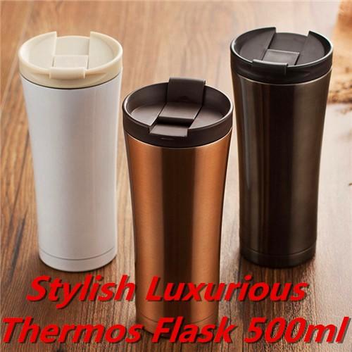 Stylish Stainless Steel Vacuum Flasks Coffee Thermos Mug Travel Bottle 500ML