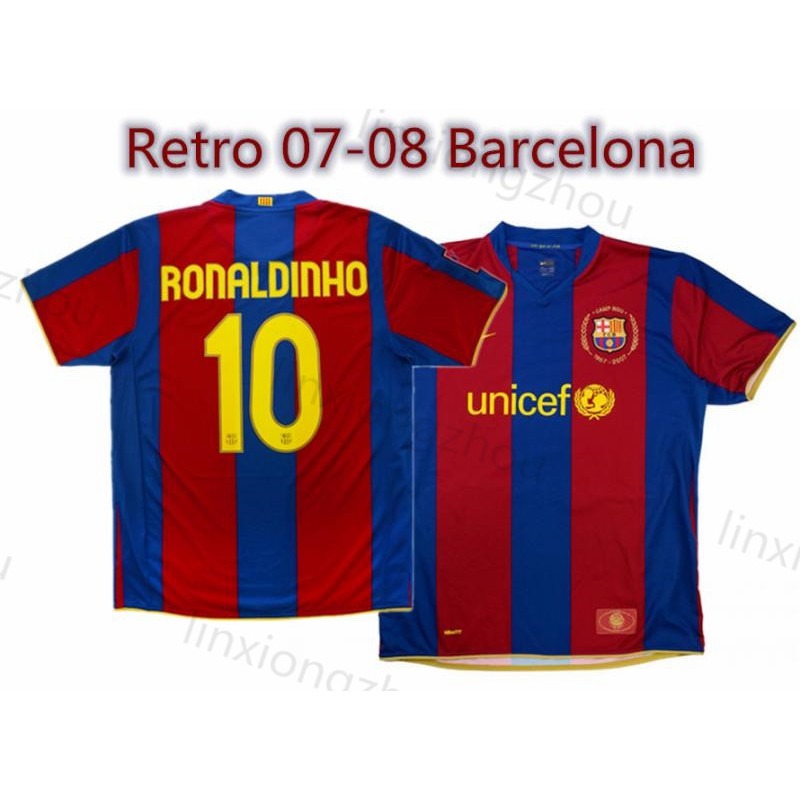 uk availability b4589 0f0c9 Top Quality 2007-08 Barcelona 50-Years Home Retro Football Jersey