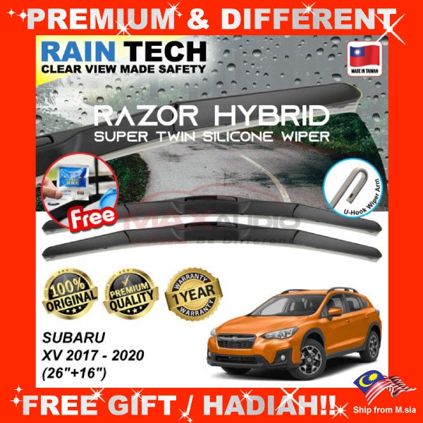 [FREE Gift] SUBARU XV 2017 - 2020 (26/16) RAIN-TECH RAZOR HYBRID Silicone Aerodynamic Clean Wipe Safety Wiper Blade
