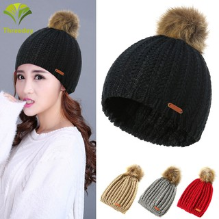 8c94bb26330 Autumn Winter Women Beanie with Faux Fur Pompon Warm Knitted Hat ...