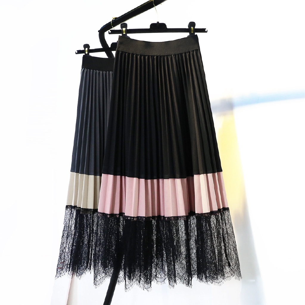 5cacaf9d2 Colorblock lace stitching pleated skirt Vintage high waist long skirt |  Shopee Malaysia