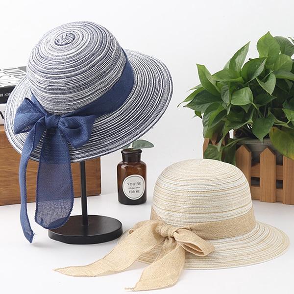 8ae4503ec Women Folding Protable Round Top Hats Summer Wide Brim Beach Hats