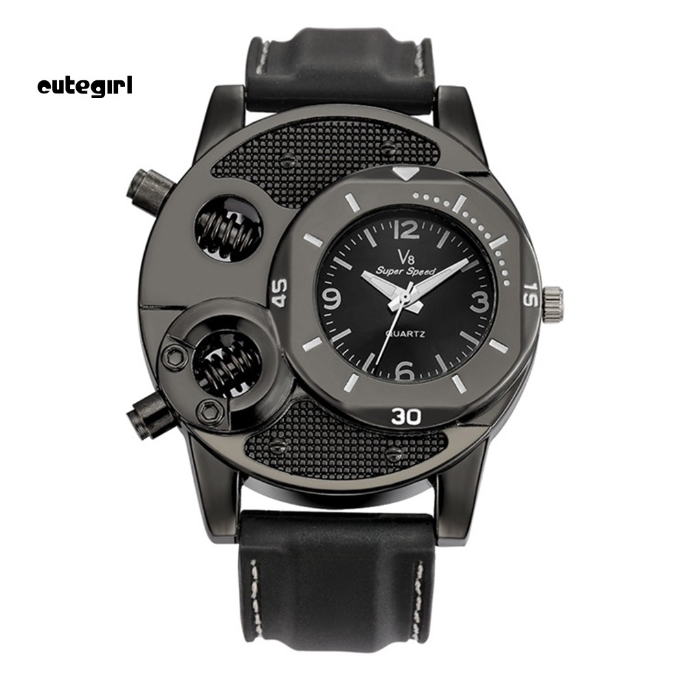 V8 Cool Men's Silicone Band Bolts Round Dial Sports Analog Quartz Wrist Watch