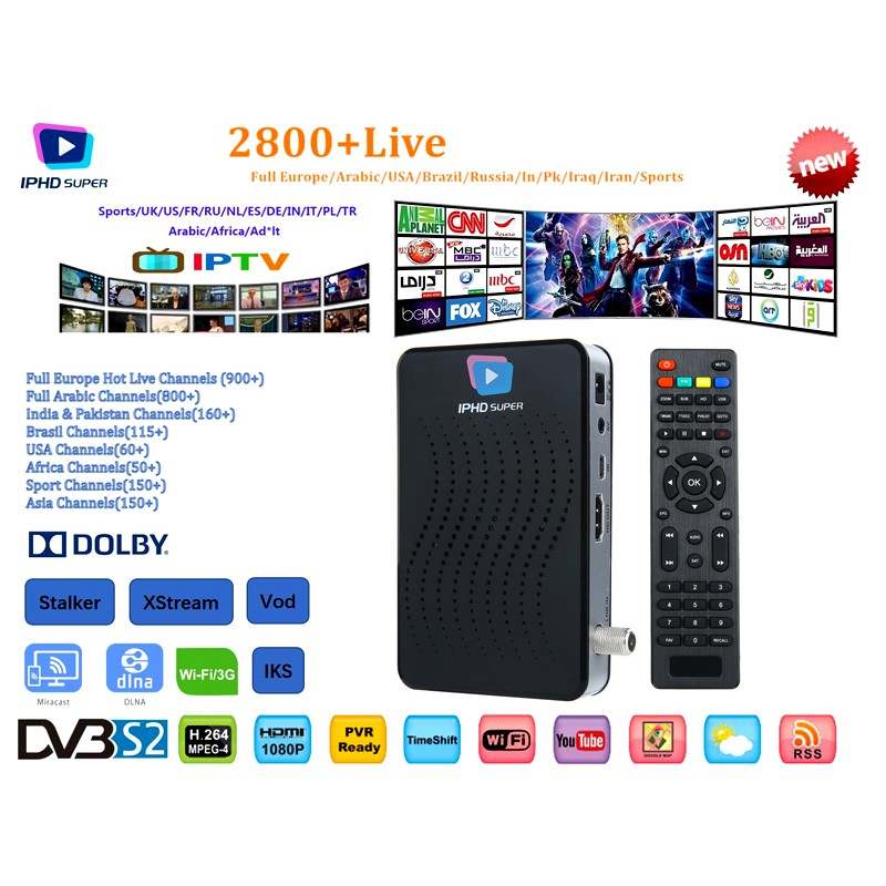 DVB S2 Smart TV Box Linux OS 1 Year IPTV Service 2800+ channels Wifi