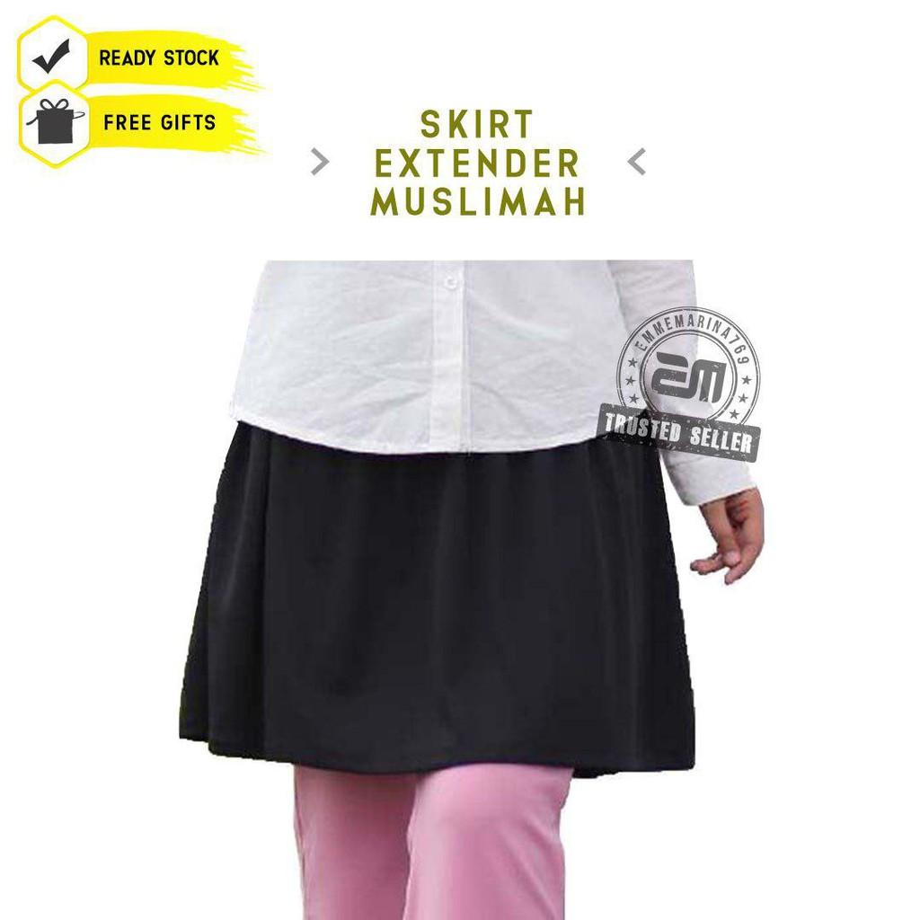 [READY STOK + FREEGIFT] Black Mini Skirt Extender Skirt Tutup Punggung Skirt Muslimah Skirt Pendek