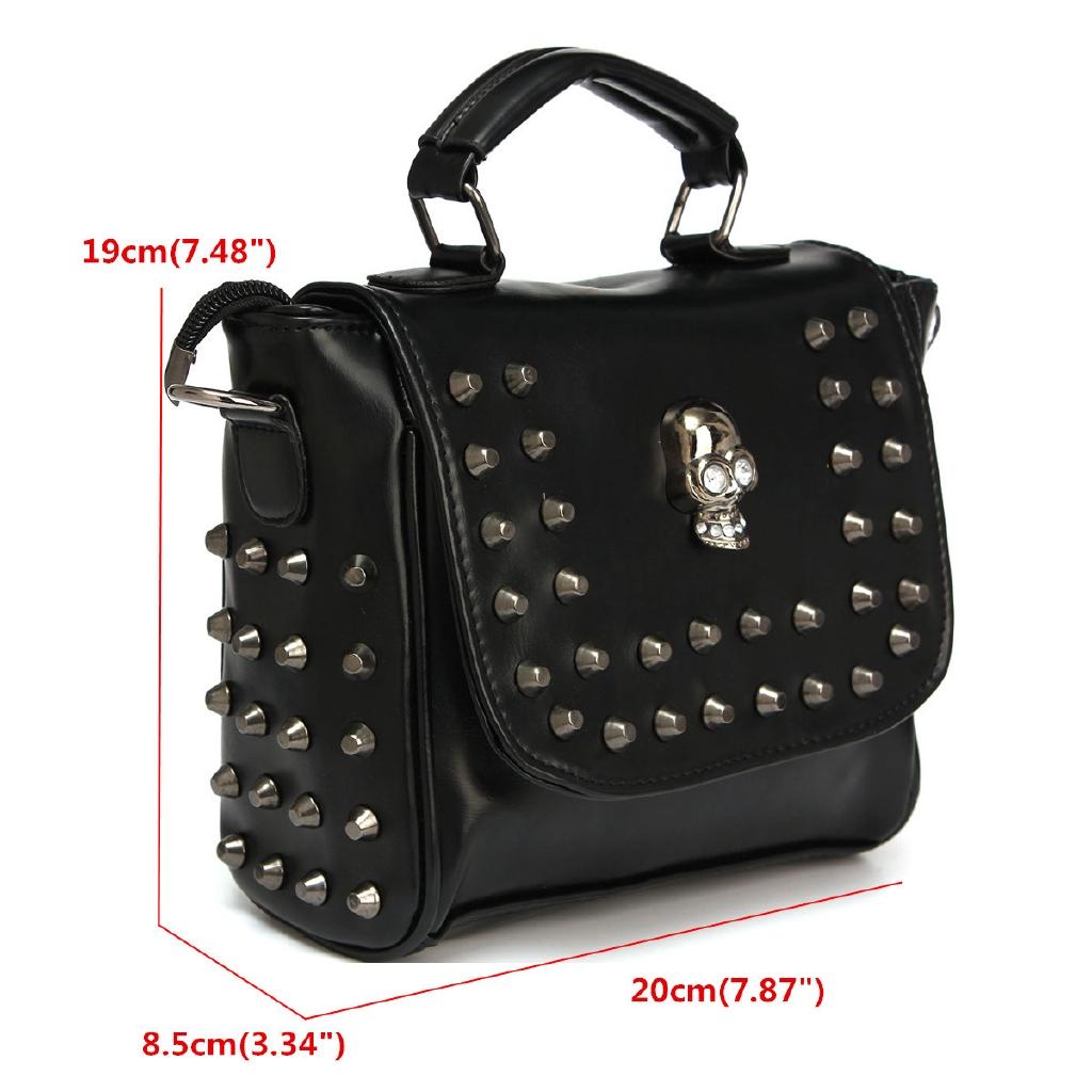 Women Leather Handbag Satchel Rivet Skull Shoulder Tote Messenger Crossbody  Bag