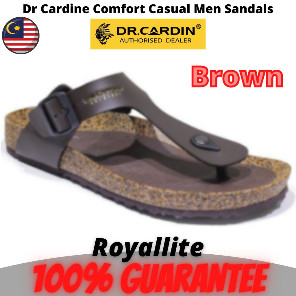 Dr Cardin Synthetic Leather Durable Phylon Outsole Casual Men Sandals (7500) Insole Solid Black & Brown