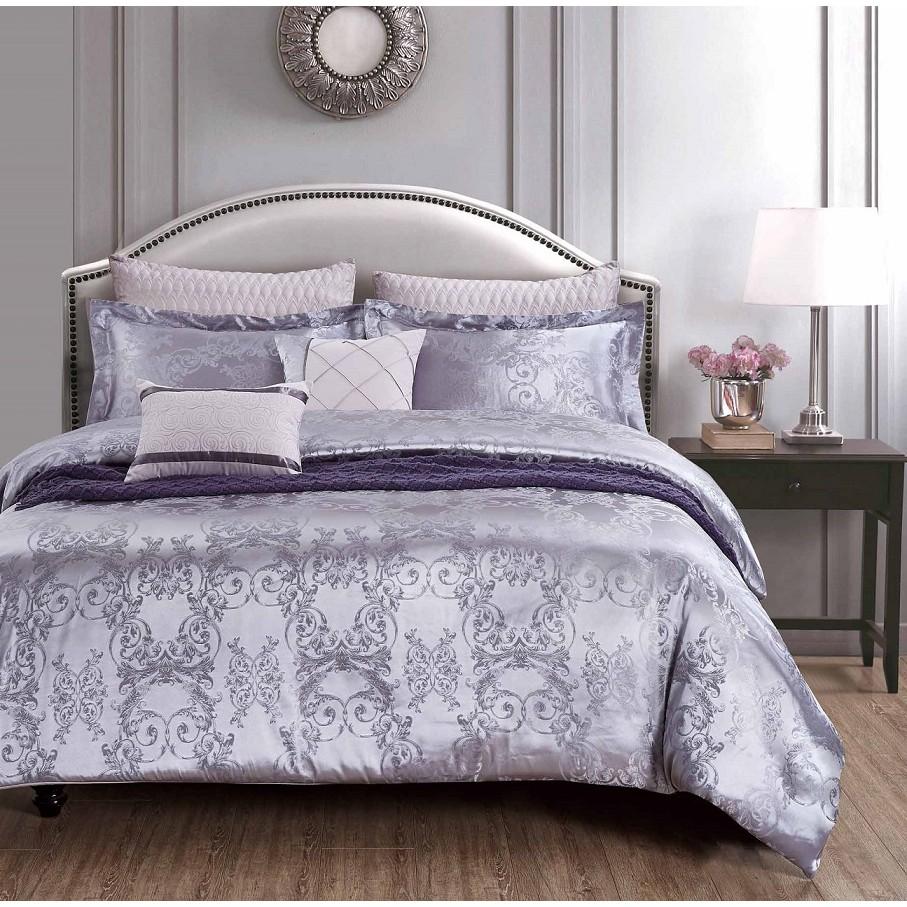 Chester London, 7pcs Silky Jacquard Comforter Set , QUEEN - MOUSSE