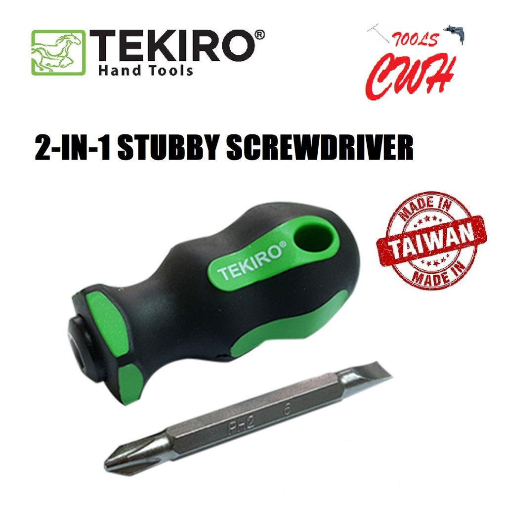TEKIRO SD-SS1466 2-IN-1 STUBBY SCREWDRIVER PHILIP(+) SLOTTED(-) TEKIRO MADE IN TAIWAN STUBBY SCREWDRIVER 2-IN-1