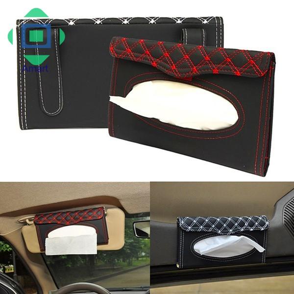 Holder Paper Napkin Clip PU Leather Car Sun Visor Tissue Box Auto Accessories CF